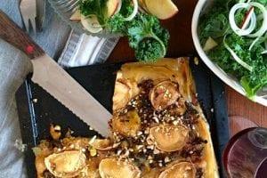 Baklava med kantarell, pumpa, getost & grönkålssallad
